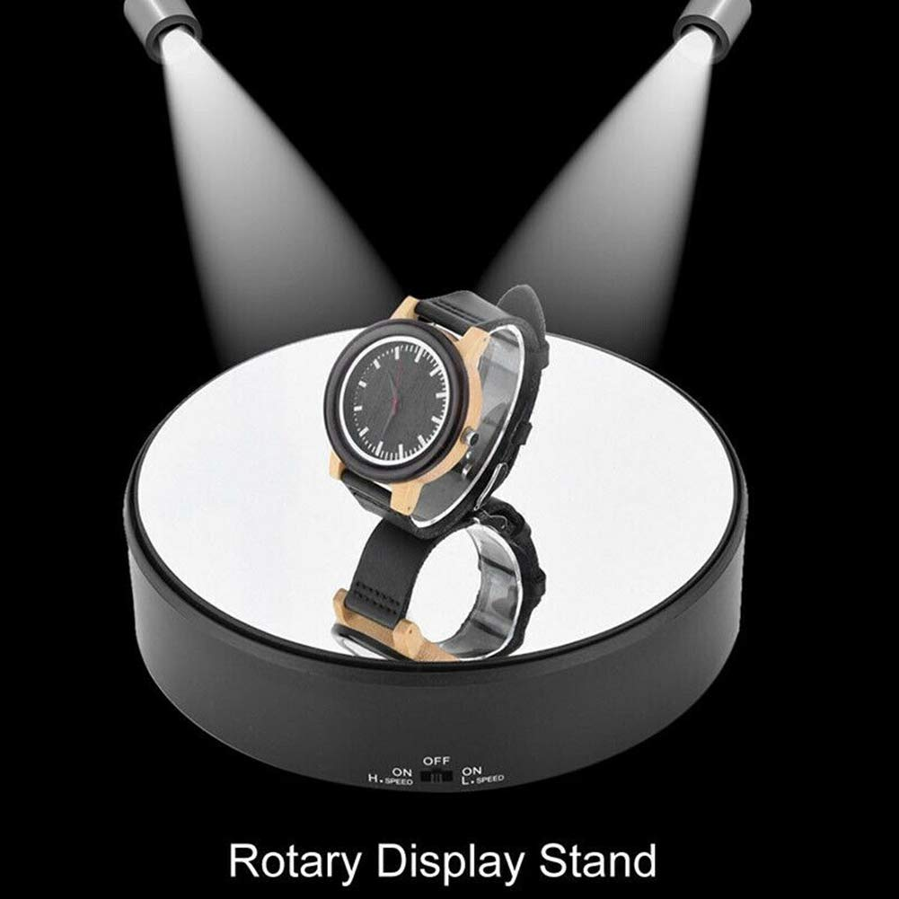 NANAD Display Stand 360 Rotating Turntable Automatic Revolving Platform Mirror-like surface Display Stand Base Collections Figurine Jewelry Display Stand Black
