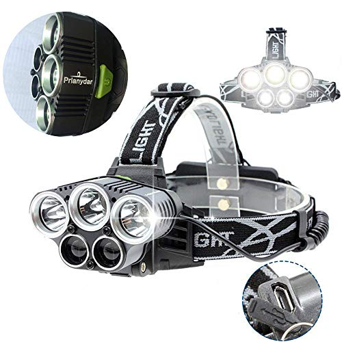 PRLANYDAR Headlamp 5 LED XM-L T6 XPE Headlight Highest lumens LED USB Headlamp Camp Hike Emergency Light Fishing Outdoor+USB Cable Charger+18650 Batteries