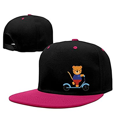 MostPopular Cute Tiger On Scooter Solid Flat Bill Snapback Baseball Cap Hip Hop Unisex Custom Hat.