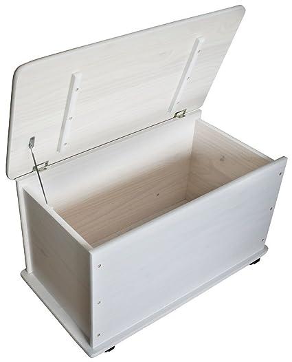 KMH, Caja de juguetes de madera de pino macizo con ruedas (blanco) (