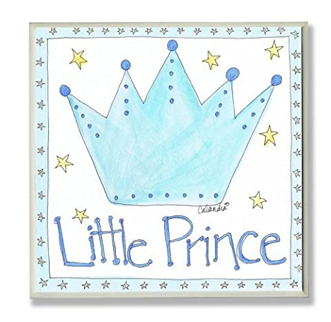 The Kids Room by Stupell Little Prince with Blue Crown Square Wall Plaque - Prince Hand Painted Wall Hanging