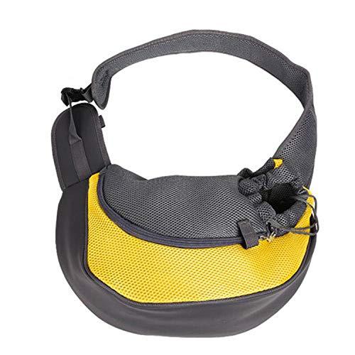 Pet Puppy Carrier Outdoor Travel Handbag Pouch Mesh Oxford Single Shoulder Bag Sling Mesh Comfort Travel Tote Shoulder Bag,Yellow,S