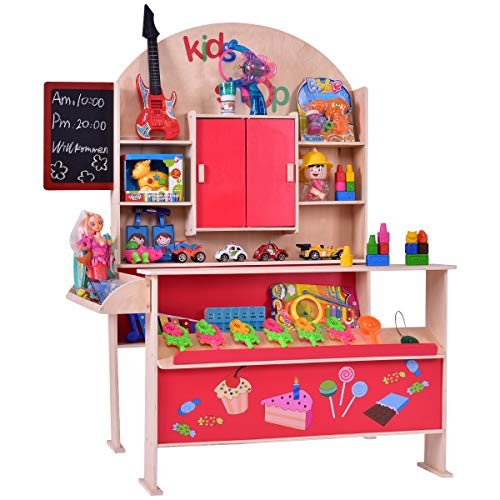 Costzon Wooden Toy Shop, Grocery Supermarket Pretend Play Set for Kids -