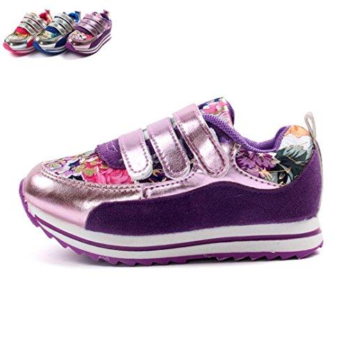 TPulling Mode Junge Und Mädchen Martin Stiefel Herbst Und Winter Frühling Kinder Laufende Schuhe des Blumenfreizeit Rutschfeste Schuhe Turnschuhe Plattenschuhe Lässige Schuhe Lila