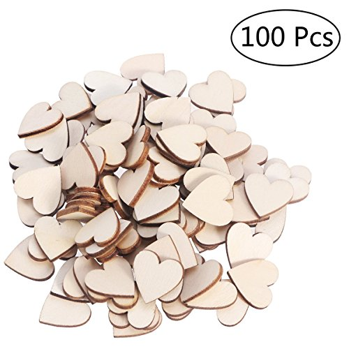 OULII Blank Heart Wood Slices Discs Wedding Christmas Ornaments, Pack of 100, 20mm