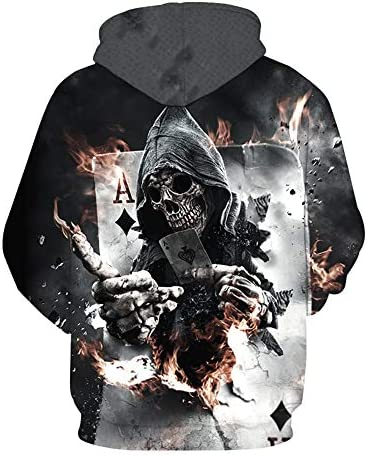 男性女性3Dプルオーバーファニーロックトラックスーツフード付き男性ジャケットファッションカジュアル生き抜くスカルポーカーパーカートレーナー