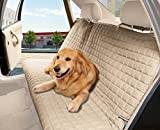 Cheap Elegance Linen Quilted Design %100 Waterproof Premium Quality Bench Car Seat Protector Cover (Entire Rear Seat) for Pets – TIES TO STOP SLIPPING OFF THE BENCH , Beige