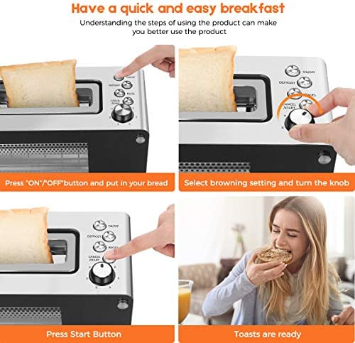 2-Slice Long Slot Toaster with Window, CUKOR Bagel Toaster with Warm Rack and seven Bread Shade Settings, Glass Toaster with Automatic Lifting, Removable Crumb Tray and Slide-out Glass Panel