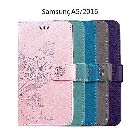 CE-Link f/ür Samsung Galaxy A5 2016 Handyh/ülle H/ülle Ledertasche Schutzh/ülle Leder Huelle mit Rosegold Schmetterling Blumen Stand Halter Magnetverschluss Wallet Case Inner Weiche Silikon Backcover