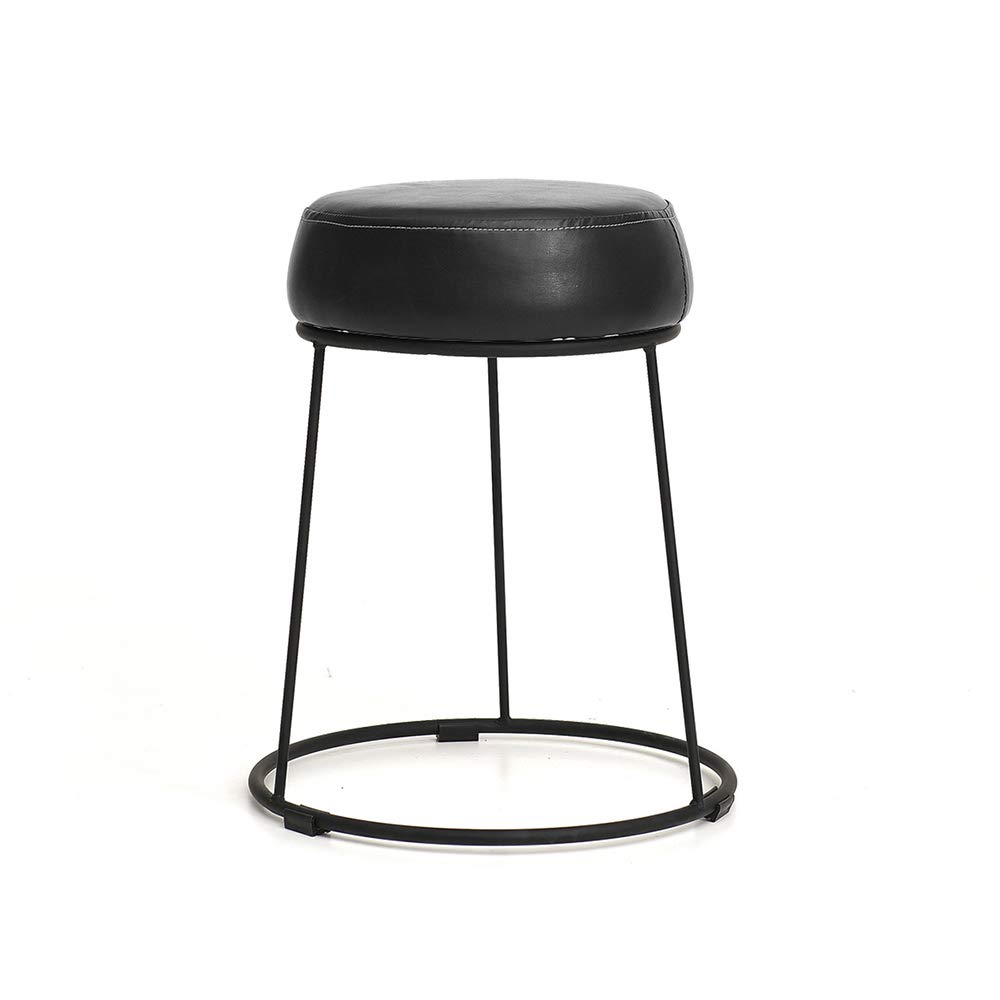 7 28.546cm ZZHF dengzi Upholstered Footstool, Round Wrought Iron Dining Table Stool Dressing Stool Sofa Living Room Bedroom Home Stool Change shoes Bench (color   3, Size   28.5  46cm)