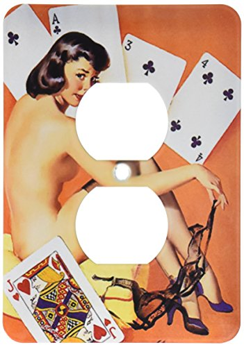3dRose lsp_179587_6 Image of Famous Elvgren Pinup Strip Poker Painting 2 Plug Outlet Cover