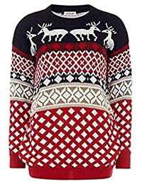 Girlzwalk Kids Girls Xmas Novelty Aztec Diamond Reindeer Knitted Jumper