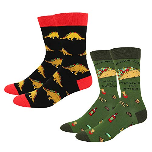 Men's Novelty Crazy Food Cool Funny Taco Tuesday Crew Socks, 2 Pack with Box