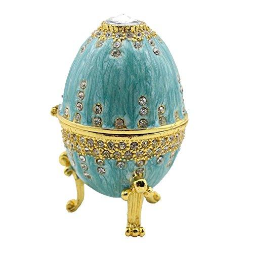 Enamel Pewter Russian Faberge Egg Jeweled Egg Trinket (Egg Enamel Box)
