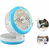KING DO WAY 4 Mode Table Fans Portable Desktop Rechargeable USB Mini Desk Fans - Misting Cooling Spray Fan - Humidifier Blue