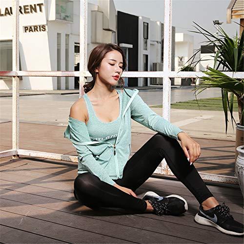 Con Yoga M Capucha Top Gimnasio Chaleco De Green color Chengzuoqing Pantalones Mujer Desgaste Legging Fitness Entrenamiento Traje Pink Size Para Deporte 5pc Abrigo 1f106