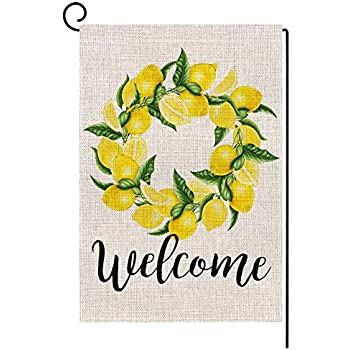 Premium Material Double Sided, Shmbada Lemon Summer Welcome Burlap Garden Flag