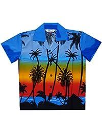abfdb2477 Hawaiian Shirts Boys Coconut Tree Beach Aloha Party Camp Short Sleeve  Holiday