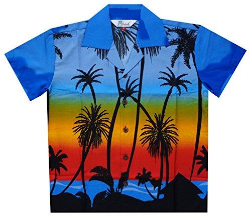 Alvish Hawaiian Shirts 42B Boys Coconut Beach Aloha Party Camp Dark Blue L (Ladies Check Camp Shirt)