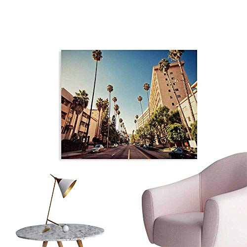 Tudouhoho Urban Poster Paper A Street in Beverly Hills California Palm Trees Houses Famous City Photo Wall Picture Decoration Light Blue Peach Green W36 xL24