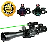 Cheap UUQ 3-9x40mm Tactical Illuminated Rifle Scope Range Finder Reticle W/Green(RED) Laser and Red Dot Sight (Green Laser)