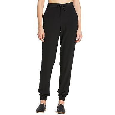 8b2ee4807 LilySilk Women s Silk Pants 18MM Black Elastic Waist Long Trousers Casual  Style Black XS 0