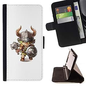 BullDog Case - FOR/Samsung Galaxy S6 / - / Viking axe hammer horns kids character /- Monedero de cuero de la PU Llevar cubierta de la caja con el ID Credit Card Slots Flip funda de cuer