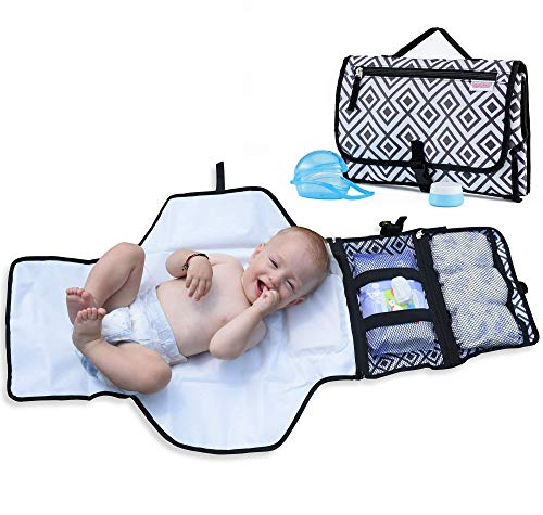 - Portable Changing Pad for Diaper Bag w/ Head Pillow, Travel Changing Pad & Portable Changing Station | Plus Binky Case & Baby Cream Jar | Infants & Newborns | Grey Black Diaper Changing Pad Portable