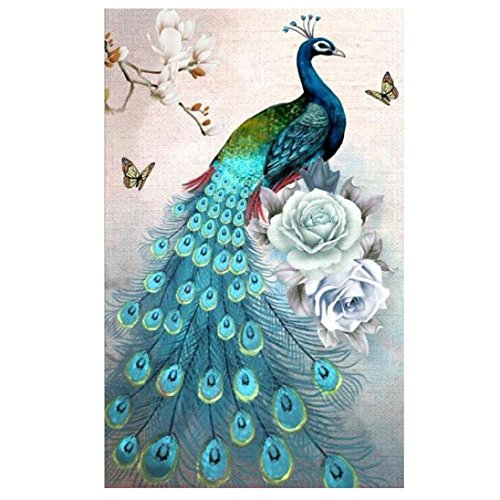 Rose Cottage Embroidery - FORESTIME 5D DIY Diamond Painting Set Full Drill Diamond Painting Peacock Eiffel Tower Wall Stickers For Living Room (B, B 3550cm)