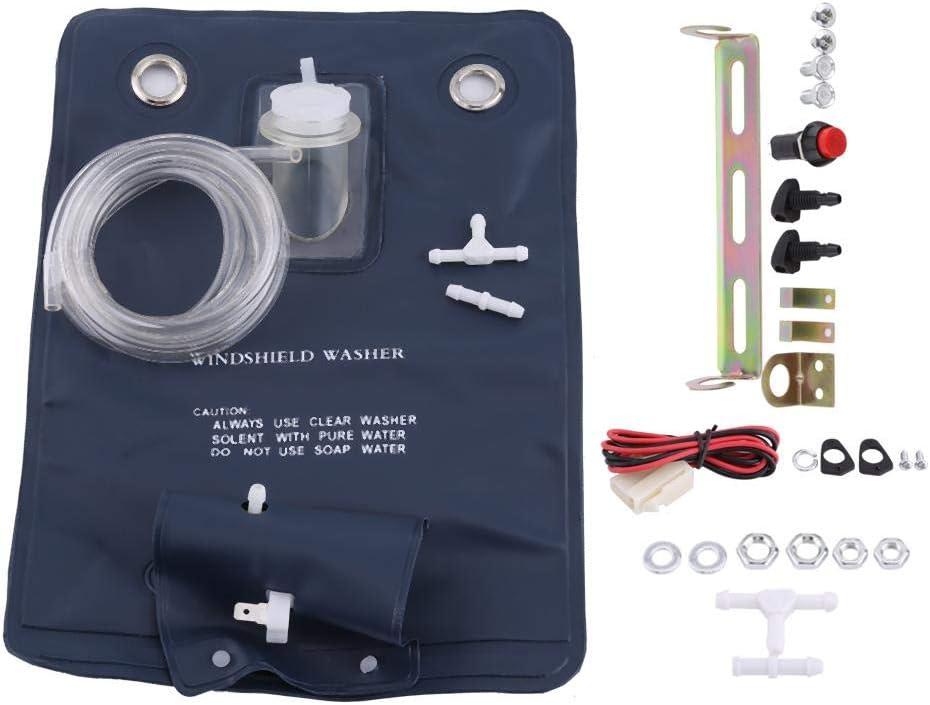 Kit de sac de pompe de lave-glace de sac de pompe de lave-glace 12V avec interrupteur /à bouton-jet pour voitures classiques universelles