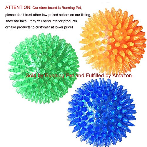 3 Pcs Pet Squeaky Chewing Balls Puppy Chew Toys Soft Stab Balls Cleaning Teeth Toys Play Balls with High Bounce for Large Medium Small Pet Dog Cat
