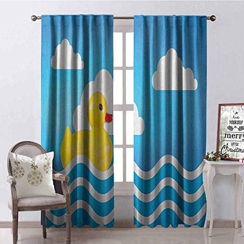 GloriaJohnson Rubber Duck Heat Insulation Curtain Yellow Cute Childrens Toy Figure on Wavy Water Inspired Stripes Clouds for Living Room or Bedroom W100 x L84 Inch Yellow White Blue