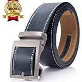 Mens 53'' Ratchet Leather Belt Cutting to Fit Genuine Waist Strap Slide Buckle