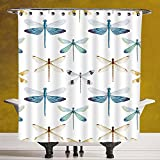 Durable Shower Curtain 3.0 [Dragonfly,Collection of Regularly Lined Up Limitless Dragonfly Patterns Short Lives Symbol,Orange Blue] Polyester Fabric Bath Decorative Curtain Ideas