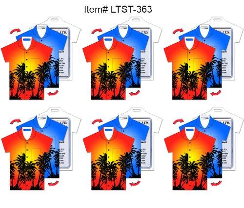 , T-Shirt Shape, Hawaiian Palm Trees Lenticular Flip Effect (Hawaiian Shirt Luggage Tag)