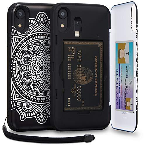 TORU CX PRO iPhone XR Wallet Case Pattern Mandala with Hidden Credit Card Holder ID Slot Hard Cover, Strap, Mirror & Lightning Adapter for Apple iPhone XR (2018) - Dreamcatcher