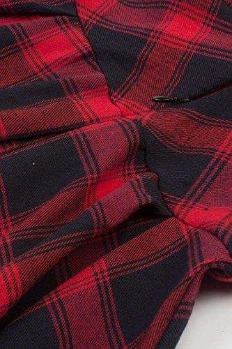 Carreaux Vintage Rouge Rockabilly Soire avec Femme Robe anne Swing 2 Rtro Babyonlinedress Manches par de 1 1950 wnOqaFI4a