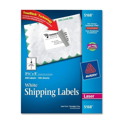 Avery 5168 Laser Labels, Mailing, Permanent, 3-1/2