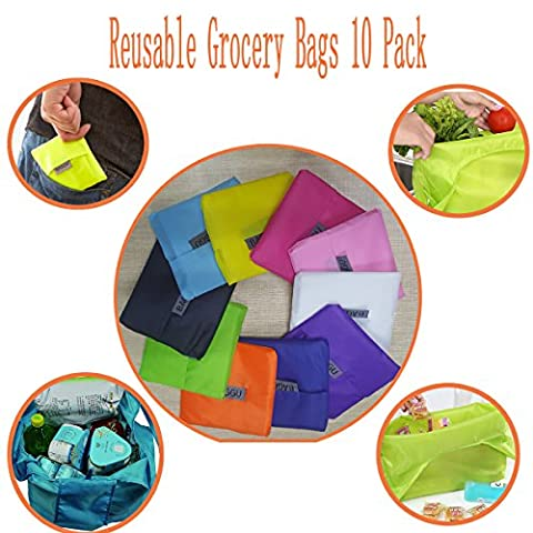 Shopping Tote Bags ,Myckuu 10 pcs Reusable Convenient Grocery Bags - Vinyl Trolley