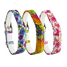 aczer-Y Fitbit Flex 2 Accessories Floral Sport Bands, Adjustable Fashion Silicone Replacement Wristband with Secure Metal Buckle Clasps and Rubber Straps for Fibit Flex 2 Wrist Band(Tracker no Included)