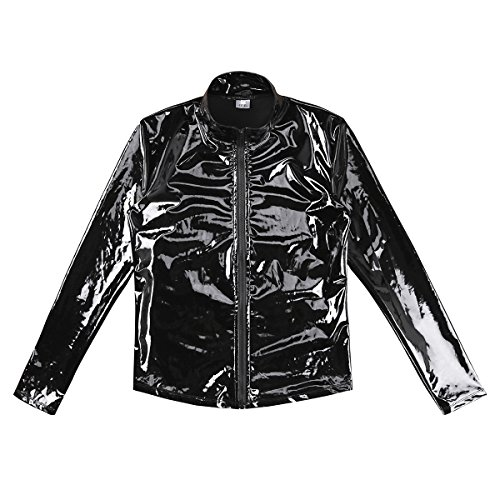 Agoky Men's Metallic Faux Leather Front-Zip Mock Neck Nightclub Style T-Shirt Top Coat Black XX-Large by Agoky (Image #4)