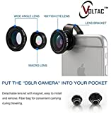 VOLTAC` ™ Universal 3 in 1 Cell Phone Camera Lens Kit - Fish Eye Lens / 2 in 1 Macro Lens & Wide Angle