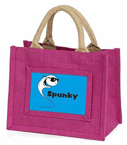 Advanta–Mini Pink Jute Tasche Humorvolle Spunky in Sonnenbrille Little Mädchen klein Einkaufstasche Weihnachten Geschenk, Jute, pink, 25,5x 21x 2cm