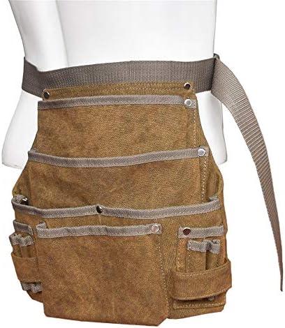 道具袋 マルチポケットキャンバスパワーツールバッグ多機能工具収納ウエストバッグ木工バッグ ツール収納袋 (色 : 褐色, Size : One size)