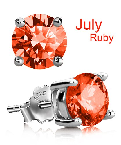 Diamond & Ruby Earrings (Stud Earrings, UHIBROS Hypoallergenic Silver Ear Stubs Birthstone Round Cubic Zirconia Diamond Earrings (July-Ruby-1))