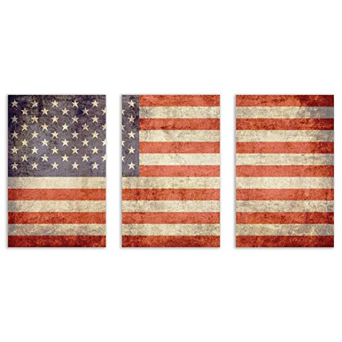 United States of America Flag Vintage Wall Art Decor - 3 (9x14) Poster Photo Prints 27x14 Total Size - Patriotic American Art - Posters Patriotic American