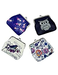 Oyachic 4 Packs Cute Coin Purse Canvas Change Pouch Small Clasp Closure Wallet Women Clutch Girl Mini Bag Christmas Birthday Gift (Flowers,Owl, Bird, Butterfly)