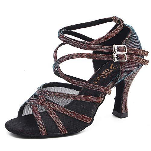 (Pro Dancer Women Ballroom Dancing Shoes Salsa Sandals Latin Dance Practice Shoe, Blue Fabric, 5.5 B(M) US)