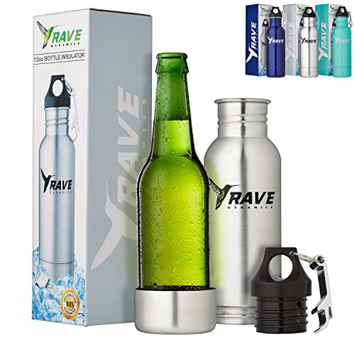 Stainless Steel Bottle Insulator - Beer Cooler - Bottle Holder - Fits Most 12oz Bottles - Cold Beer - Liquid Tight Seal with Bottle Opener by RAVE Dynamics