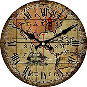 World Map Large Decorative Round Wall Clock Living Room Wall Decor Fashion Silent
